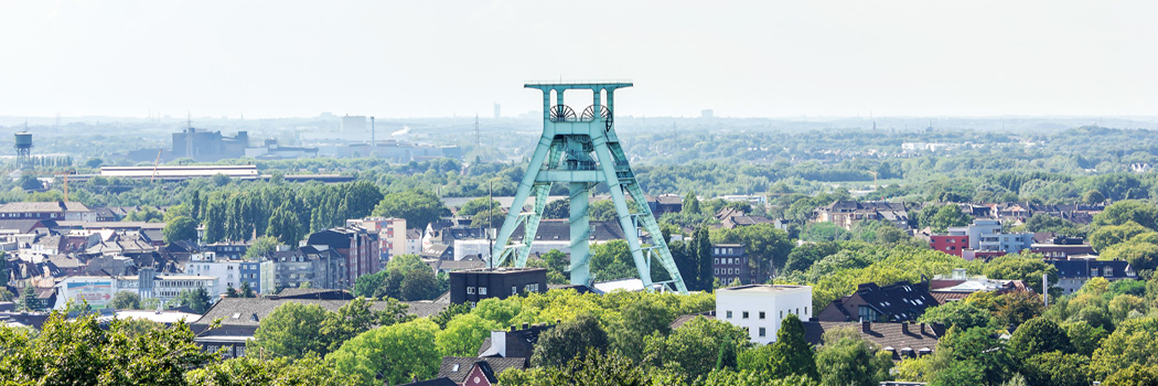 Blick auf den Förderturm in Bochum