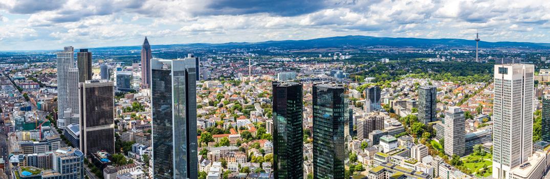 Panorama vom Finanzdistrikt in Frankfurt am Main